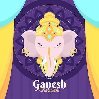 Flat design ganesh chaturthi illustrated