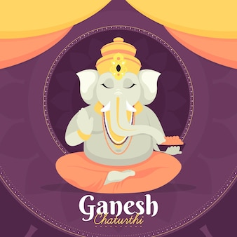Flat design ganesh chaturthi illustration