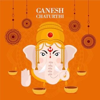 Flat design ganesh chaturthi