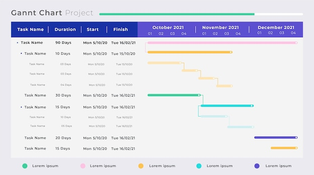 Flat design of gantt chart