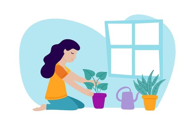 フラットなデザインのガーデニングを自宅で女性とコンセプトイラスト