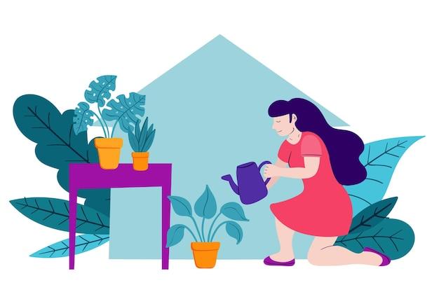 女性と一緒に家のイラストでガーデニングフラットデザイン