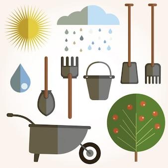 Design piatto di elementi di giardinaggio