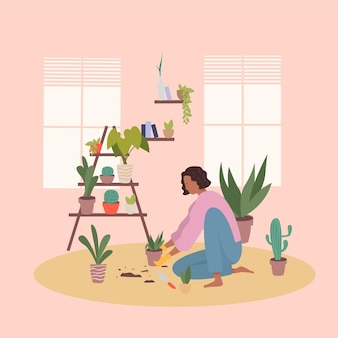 Flat design gardening at home concept with woman