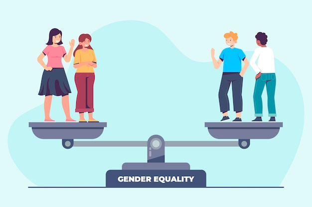 男性と女性とのフラットなデザインの男女共同参画のイラスト