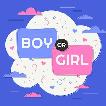 Flat design gender reveal concept illustration