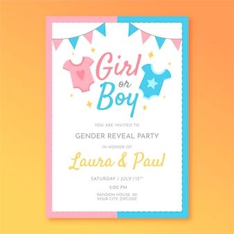 Flat design gender reveal invitation template