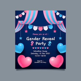 평면 디자인 성별 공개 초대장 템플릿