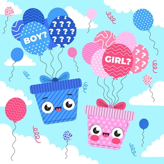 Flat design gender reveal party concept