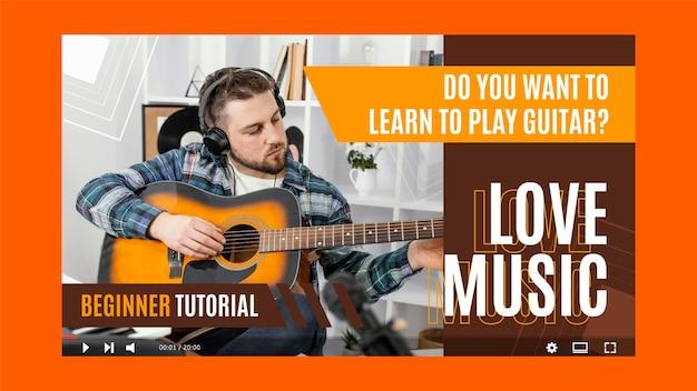 Миниатюра youtube с геометрической музыкой в плоском дизайне