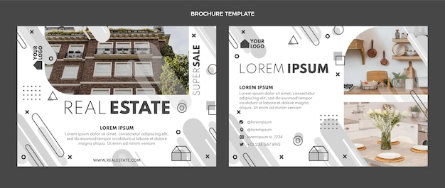 Flat design geometric real estate brochure