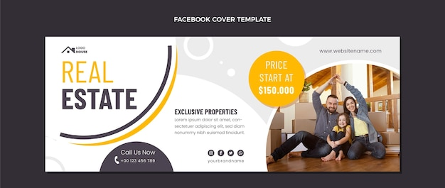 Flat design geometric real estate facebook cover