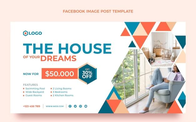 Post di facebook immobiliare geometrico design piatto