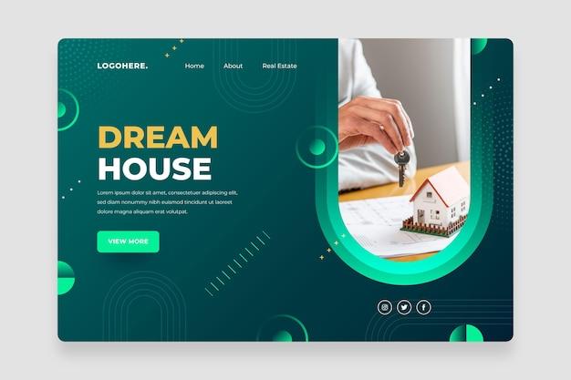 Плоский дизайн геометрической целевой страницы недвижимости