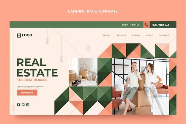 Pagina di destinazione immobiliare geometrica dal design piatto