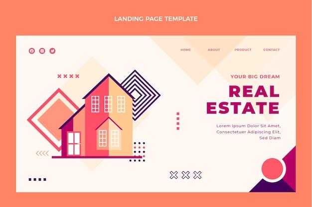 Design piatto della pagina di destinazione immobiliare geometrica