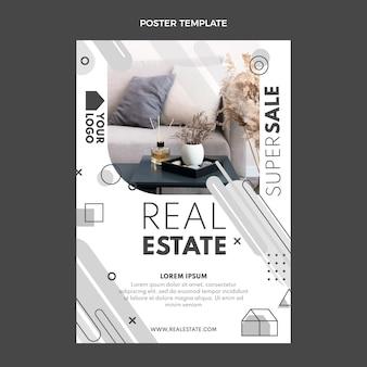 Poster immobiliare geometrico design piatto
