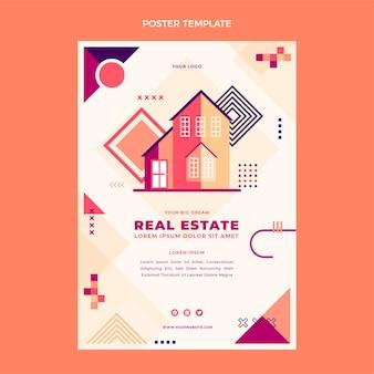 Design piatto del poster immobiliare geometrico
