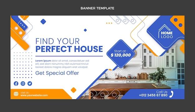 Плоский дизайн геометрического баннера продажи недвижимости