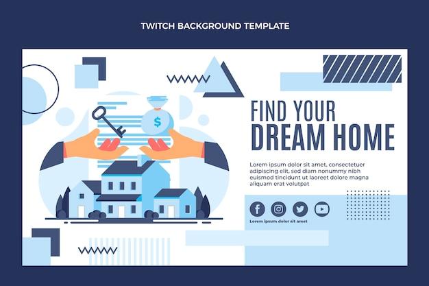 Flat design geometric real estate twitch background