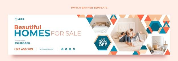 Плоский дизайн геометрической недвижимости twitch баннер Бесплатные векторы