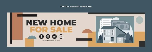 Flat design geometric real estate twitch banner