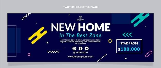 Flat design geometric real estate twitter header