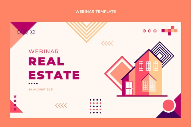 Flat design ofgeometric real estate webinar