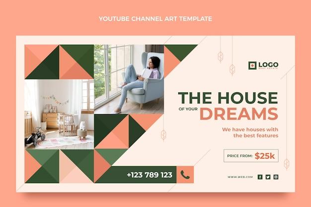 フラットデザインの幾何学的な不動産のyoutubeチャンネル