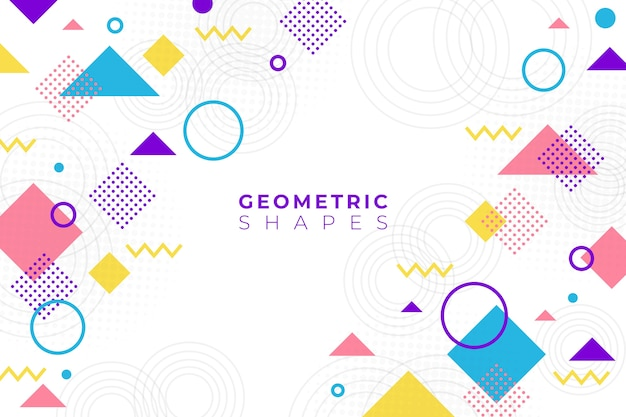 Flat design geometric shapes background in memphis style