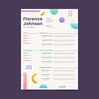 Flat design geometric shapes cv template