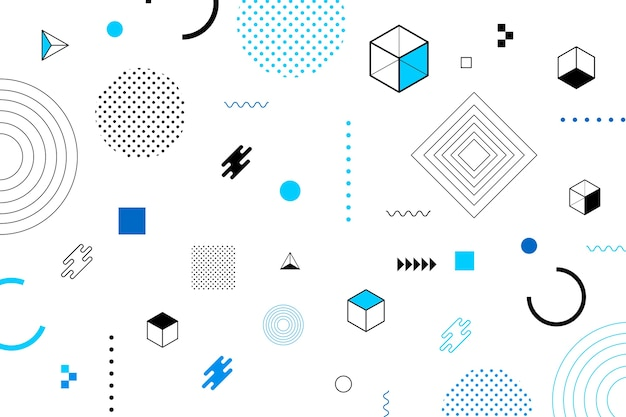 Flat design geometric shapes screensaver