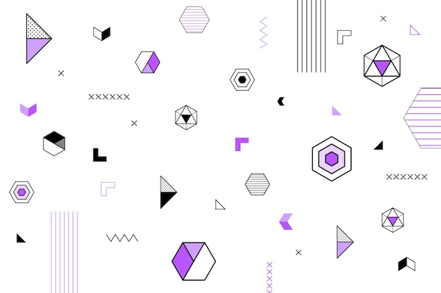 Flat design geometric shapes wallpaper