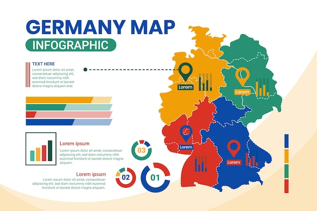 Flat design germany map infographic