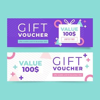 Flat design gift voucher banners
