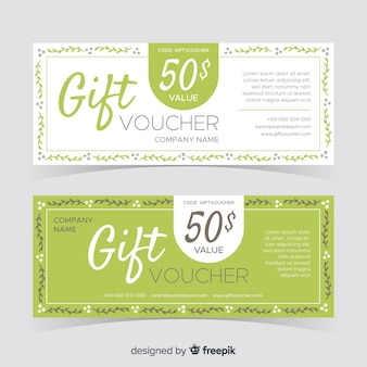 Flat design gift voucher pack