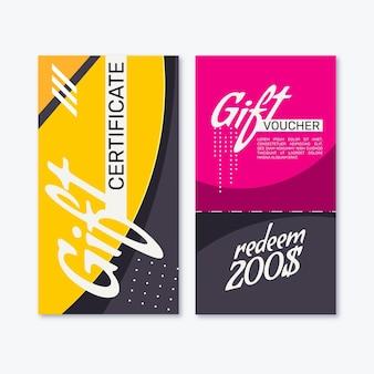 Плоский дизайн подарочный сертификат вертикальные баннеры