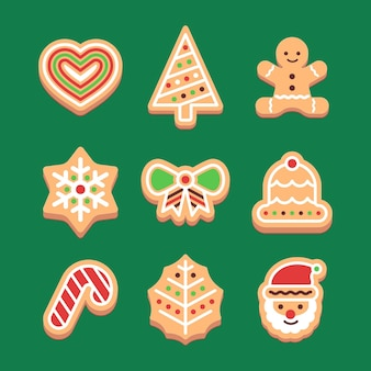 フラットデザインのジンジャーブレッドクッキーコレクション
