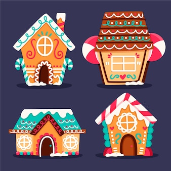 Flat design gingerbread house collection