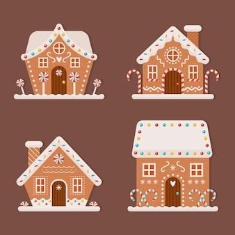 Плоский дизайн коллекции пряничных домиков