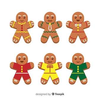 Flat design gingerbread man cookie collection