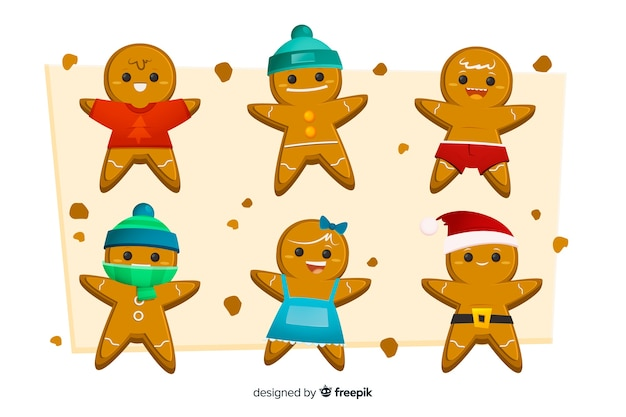 Flat design of gingerbread man cookie collection