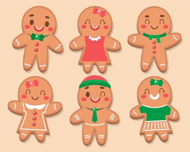 Collezione di biscotti uomo di pan di zenzero design piatto