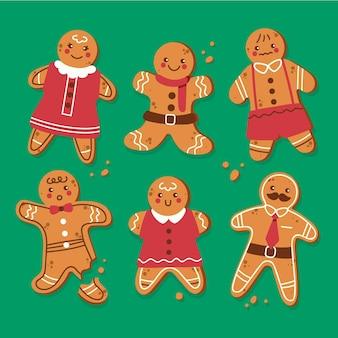 평면 디자인 진저 브레드 남자 쿠키 컬렉션