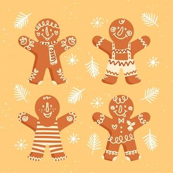 フラットデザインのジンジャーブレッドマンクッキーコレクション