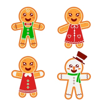 Flat design gingerbread man cookie illustration collection