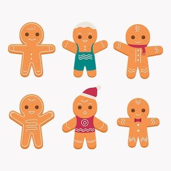 Flat design gingerbread man cookie illustration pack
