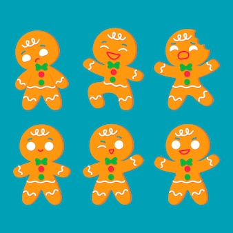 Flat design gingerbread man cookie pack