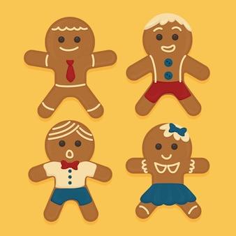 Flat design gingerbread man cookie pack