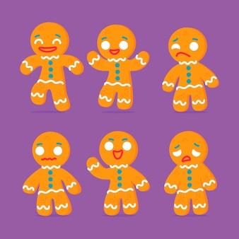 Flat design gingerbread man cookie set